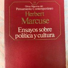 Libros de segunda mano: MARCUSE,ENSAYO SOBRE POLÍTICA Y CULTURA. Lote 263549270