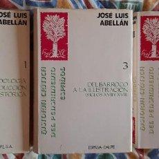 Libri di seconda mano: JOSÉ LUIS ABELLÁN. HISTORIA CRÍTICA DEL PENSAMIENTO ESPAÑOL. TOMOS 1, 3 Y 5(II). Lote 133777174