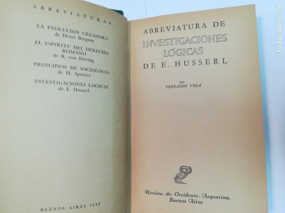 Libros de segunda mano: D.E. HUSSERL Abreviatura de investigaciones lógicas SA4308 - Foto 2 - 264511879