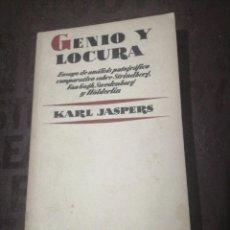 Libros de segunda mano: GENIO Y LOCURA, KARL JASPERS. Lote 266973684