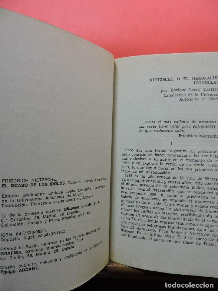 Libros de segunda mano: El ocaso de los ídolos. NIETZSCHE, Friedrich. Ediciones Busma PPP Poesía y prosa popular 1982 - Foto 2 - 269352178