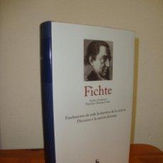 Libros de segunda mano: FUNDAMENTO DE TODA LA DOCTRINA DE LA CIENCIA / DISCURSOS A LA NACION ALEMANA - FICHTE - GREDOS. Lote 270194498