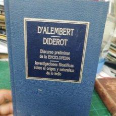 Libros de segunda mano: D'ALEMBERT/ DIDEROT. DISCURSO PRELIMINAR DE LA ENCICLOPEDIA. ORBIS. Lote 275563108