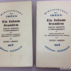 Libros de segunda mano: EN ISLAM IRANIEN : ASPECTS SPIRITUELS ET PHILOSOPHIQUES, HENRY CORBIN. VOLUM. II - III. EN FRANCÉS.. Lote 276267608