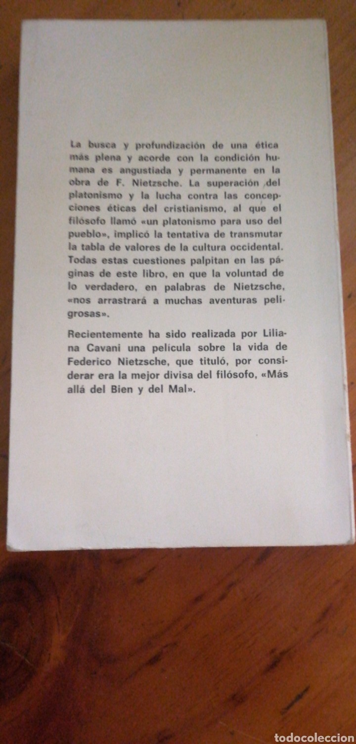 Libros de segunda mano: Más allá del bien y del mal - Friedrich Nietzche Edaf 1979 Buen esado rustica, trad. Carlos Vergara - Foto 2 - 276924858