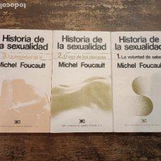 Libros de segunda mano: MICHEL FOUCAULT, HISTORIA DE LA SEXUALIDAD. TOMOS 1, 2 Y 3. Lote 276955438