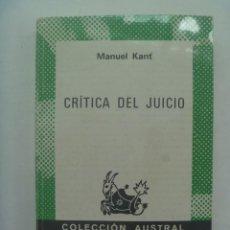 Libros de segunda mano: CRITICA DEL JUICIO, DE MANUEL KANT . AUSTRAL, 1977. Lote 277269483