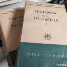 Libros de segunda mano: HISTORIA DE LA FILOSOFÍA. 2 TOMOS COMPLETA. JOHANNES HIRSCHBERGER. Lote 280119943
