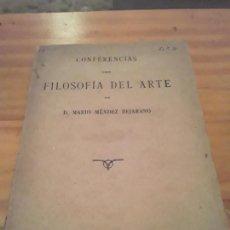 Libros de segunda mano: CONFERENCIAS SOBRE FILOSOFIA DEL ARTE.MARIO MENDEZ BEJARANO.IMPRENTA ESPAÑOLA.1916.93 PAGINAS. Lote 286660968