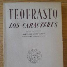 Libros de segunda mano: TEOFRASTO LOS CARACTERES, EDICION BILINGUE, INS. ESTUDIOS POLITICOS, 1956 RARO. Lote 288501068