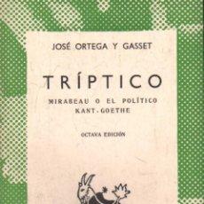 Libros de segunda mano: TRIPTICO. Nº181. ORTEGA Y GASSET,JOSE. A-AUSV-920.. Lote 289553523