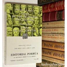 Libros de segunda mano: DIÓGENES LAERCIO - FILOSTRATO VIDA DE LOS FILÓSOFOS MÁS ILUSTRES VIDAS DE LOS SOFISTAS - FILOSOFÍA. Lote 293804163