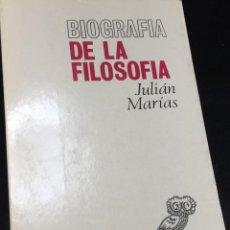Libros de segunda mano: BIOGRAFÍA DE LA FILOSOFÍA. JULIAN MARIAS, REVISTA DE OCCIDENTE, 1968. Lote 297101948