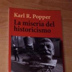 Libros de segunda mano: KARL R. POPPER - LA MISERIA DEL HISTORICISMO - ALIANZA EDITORIAL, 2010. Lote 297107888