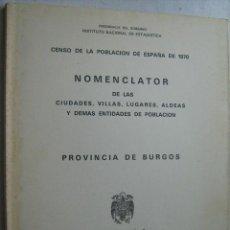 Libros de segunda mano: NOMENCLATOR DE LAS CIUDADES, VILLAS, LUGARES, ALDEAS Y DEMÁS ENTIDADES DE POBLACIÓN. BURGOS. Lote 32732079
