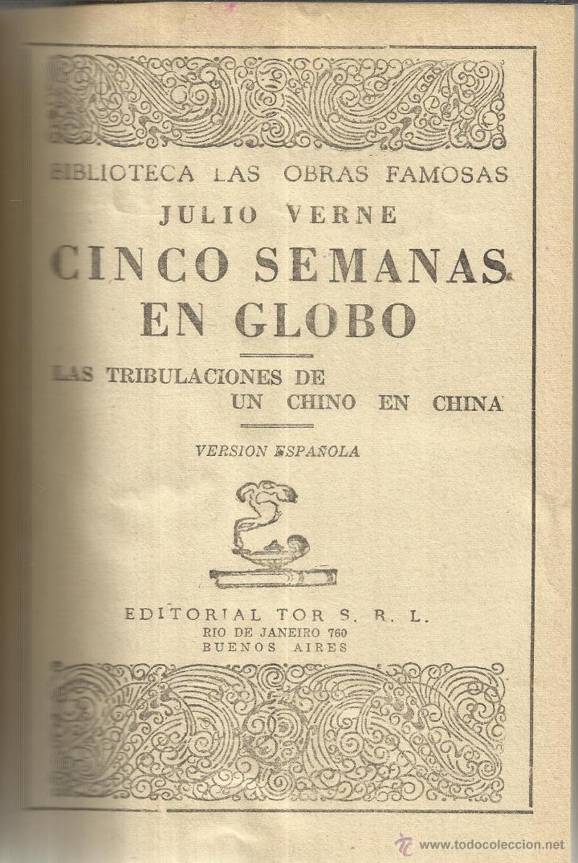 CINCO SEMANAS EN GLOBO. JULIO VERNE. EDITORIAL TORS. BUENOS AIRES. 1954 (Libros de Segunda Mano - Geografía y Viajes)