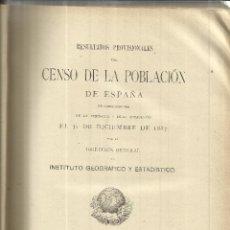 Libros de segunda mano: CENSO DE LA POBLACIÓN ESPAÑOLA. INSTITUTO GEOGRÁFICO Y ESTADÍSTICO. MADRID. 1889. Lote 43921006