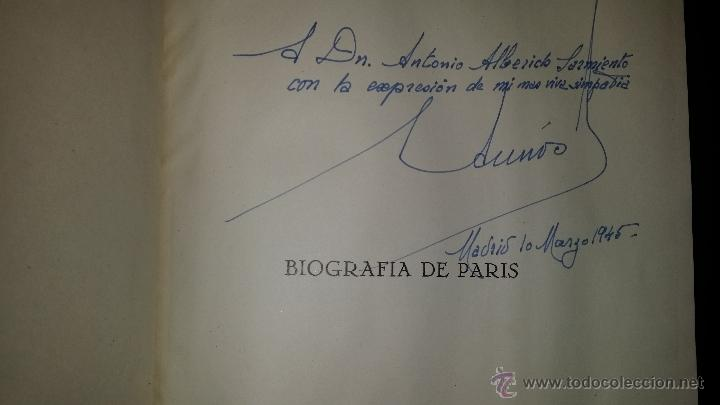 Libros de segunda mano: BIOGRAFIA DE PARIS,EDUARDO AUNOS,EDICION LUJO,ENCUADERNADA EN PIEL,AUTOGRAFIADA POR FERNANDO AUNOS - Foto 20 - 46947520