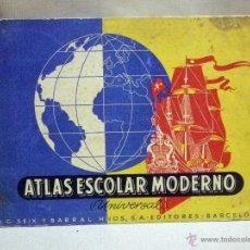 Libros de segunda mano: ANTIGUO ATLAS ESCOLAR MODERNO, UNIVERSAL, SEIX BARRAL, BARCELONA, 1949. Lote 48744787