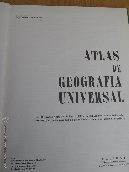 Libros de segunda mano: ATLAS GEOGRÁFICO UNIVERSAL - SALINAS. - Foto 3 - 53945337