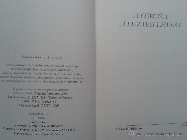 Libros de segunda mano: A Coruña á luz das letras. 1º Edición. Año 2008. - Foto 2 - 54410847