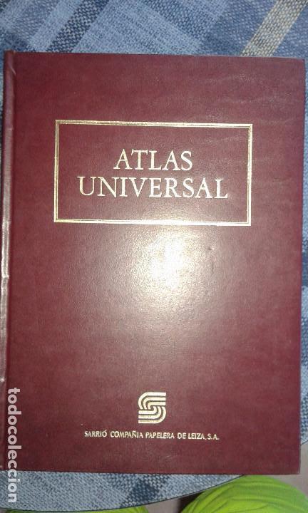 ATLAS UNIVERSAL ENCUADERNADO EN CUERO DE SARRIO PAPELERA DE LEIZA (Libros de Segunda Mano - Geografía y Viajes)