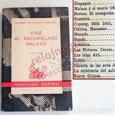 Libros de segunda mano: VIAJE AL ARCHIPIÉLAGO MALAYO LIBRO RUSSEL WALLACE - NATURALISTA GEOGRAFÍA MALASIA OCEANÍA NATURALEZA. Lote 94319242