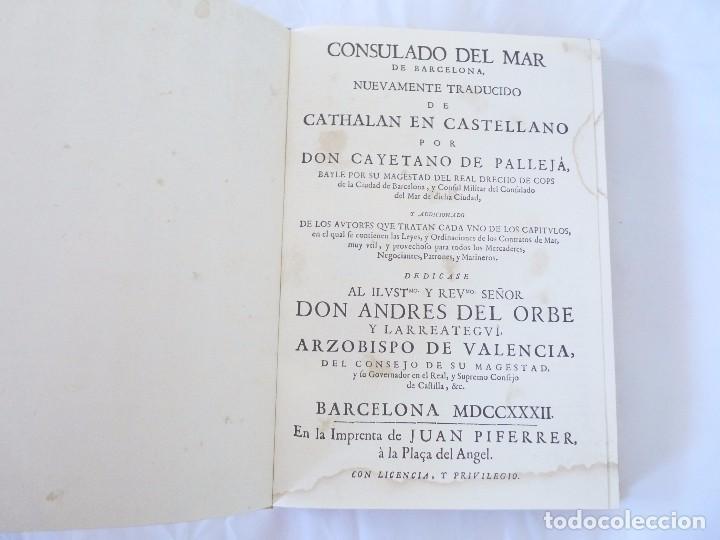 Libros de segunda mano: CONSULADO DEL MAR DE BARCELONA EDICIÓN FACSIMIL - Foto 4 - 96019255