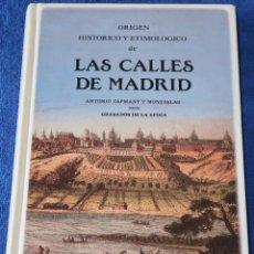 Libros de segunda mano: ORIGEN HISTÓRICO Y ETIMOLÓGICO DE LAS CALLES DE MADRID - FERNANDO PLAZA DEL AMO (1990). Lote 119585231