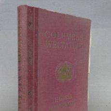 Libros de segunda mano: GRAN ATLAS MUNDIAL DE COLON E.DEBES CON 62 PAGINAS DE MAPAS Y ATLAS DE VIAJE, AÑO 1950, 42X34,5 CMS. Lote 141704078