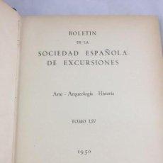 Libros de segunda mano: BOLETIN DE LA SOCIEDAD ESPAÑOLA DE EXCURSIONES. TOMO LIV, ILUSTRADO LÁMINAS DESPLEGABLES MEDIA PIEL. Lote 166246134