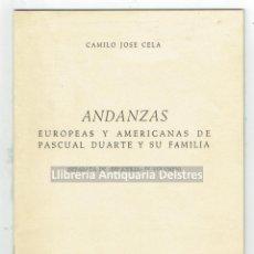 Libros de segunda mano: [PASCUAL DUARTE Y C. J. CELA] AUTOGRAFO DE CELA.ANDANZAS EUROPEAS Y AMERICANAS DE PASCUAL DUARTE .... Lote 170168872
