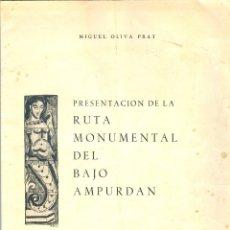 Libros de segunda mano: NUMULITE * PRESENTACIÓN DE LA RUTA MONUMENTAL DEL BAJO AMPURDÁN MIGUEL OLIVA PRAT T11. Lote 181426451