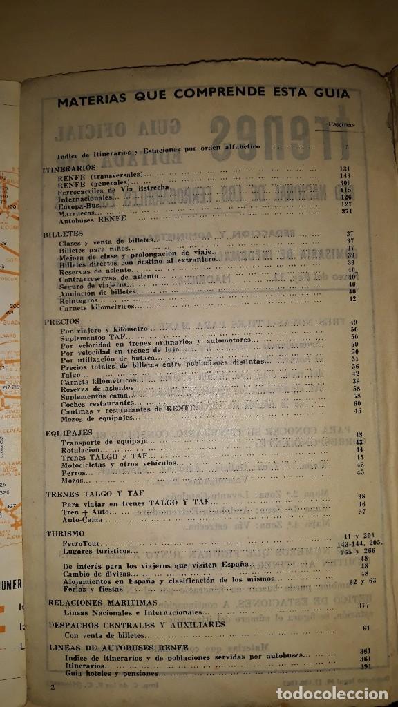 Libros de segunda mano: TRENES - GUÍA OFICIAL RENFE JULIO-AGOSTO 1963 - Foto 2 - 188759105