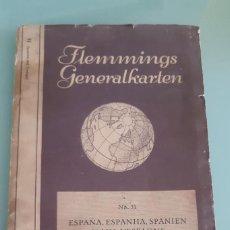Libros de segunda mano: MAPA ANTIGUO FLEMMINGS GENERALKARTEN DE ESPAÑA Y PORTUGAL EN ALEMAN, CREO 1:175. Lote 200365683