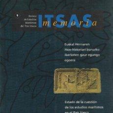 Libros de segunda mano: ITSAS MEMORIA. ESTADO DE LA CUESTIÓN DE LOS ESTUDIOS MARÍTIMOS EN EL PAÍS VASCO. LIBRO VASCO.. Lote 206839603