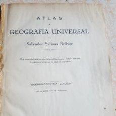 Libros de segunda mano: ATLAS DE GEOGRAFÍA UNIVERSAL SALVADOR SALINAS BELLVER 1947 LITOGRA. FERNÁNDEZ 102 MAPAS Y MÁS 140 F.. Lote 213273322