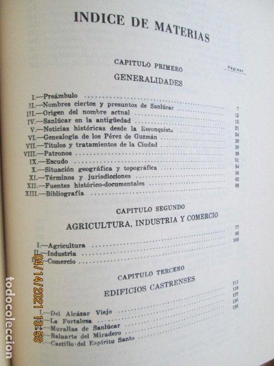 Libros de segunda mano: HISTORIA DE LA CIUDAD DE SANLUCAR DE BARRAMEDA - PEDRO BARBADILLO - EJEMPLAR 1021 DE 1500- EDC ANEL - Foto 5 - 254620050