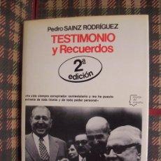 Libros de segunda mano: PEDRO SAINZ RODRIGUEZ - 1978 - TESTIMONIO Y RECUERDOS - ILUSTRADO. Lote 27369507