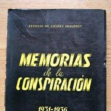 Libros de segunda mano: MEMORIAS DE LA CONSPIRACIÓN 1931-1936. LIZARZA IRIBARREN (ANTONIO DE). Lote 23863575