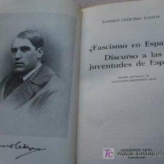 Libros de segunda mano: ¿FASCISMO EN ESPAÑA? DISCURSO A LAS JUVENTUDES DE ESPAÑA. LEDESMA RAMOS (RAMIRO). Lote 19296058