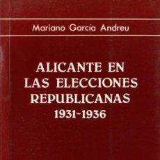 Libros de segunda mano: ALICANTE EN LAS ELECCIONES REPUBLICANAS 1931-1936 - MARIANO GARCÍA ANDREU, UNIVERSIDAD ALICANTE 1985. Lote 38764235