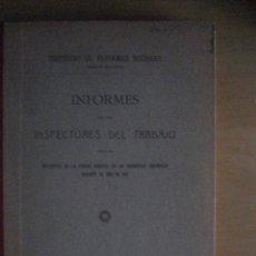 Libros de segunda mano: INFORMES DE LOS INSPECTORES DEL TRABAJO DE 1916. Lote 39342279