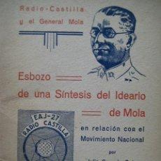 Libros de segunda mano - ESBOZO DE SÍNTESIS DEL IDEARIO DE MOLA EN RELACIÓN CON EL MOVIMIENTO NACIONAL, JULIO GONZALO SOTO. - 41785312
