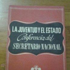 Libros de segunda mano: LA JUVENTUD Y EL ESTADO CONFERENCIA SECRETARIO NACIONAL FRENTE JUVENTUDES PEREZ VIÑETA VALENCIA 1945. Lote 46137890