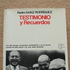 Libros de segunda mano: TESTIMONIO Y RECUERDOS. SAINZ RODRÍGUEZ (PEDRO) BARCELONA, PLANETA.1978. Lote 52285843