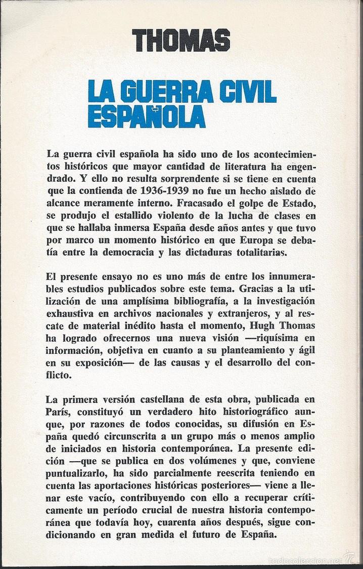 Libros de segunda mano: Historia - La Guerra Civil española - Hugh Thomas - 2 Vols v - Foto 2 - 40743574