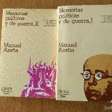 Libros de segunda mano: MEMORIAS POLÍTICAS Y DE GUERRA. MANUEL AZAÑA. TOMOS I Y II. O. C.. Lote 58808906
