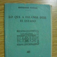 Libros de segunda mano: LO QUE A FALANGE DEBE EL ESTADO. ANTONIO TOVAR EDICIONES BOLSILLO CAMISA AZUL 41 - ENVIO GRATIS. Lote 68112561