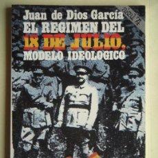 Libros de segunda mano: EL REGIMEN DEL 18 DE JULIO, MODELO IDEOLOGICO - JUAN DE DIOS GARCIA - AKAL, 1977, 1ª ED (COMO NUEVO). Lote 97244407